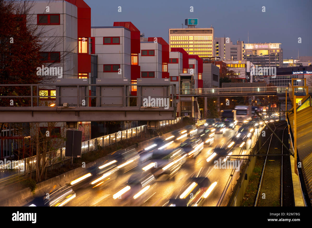 Autobahn A40, Ruhrschnellweg Highway, in Essen, route through the city center, is affected by a possible diesel ban, Skyline, Germany, Stock Photo