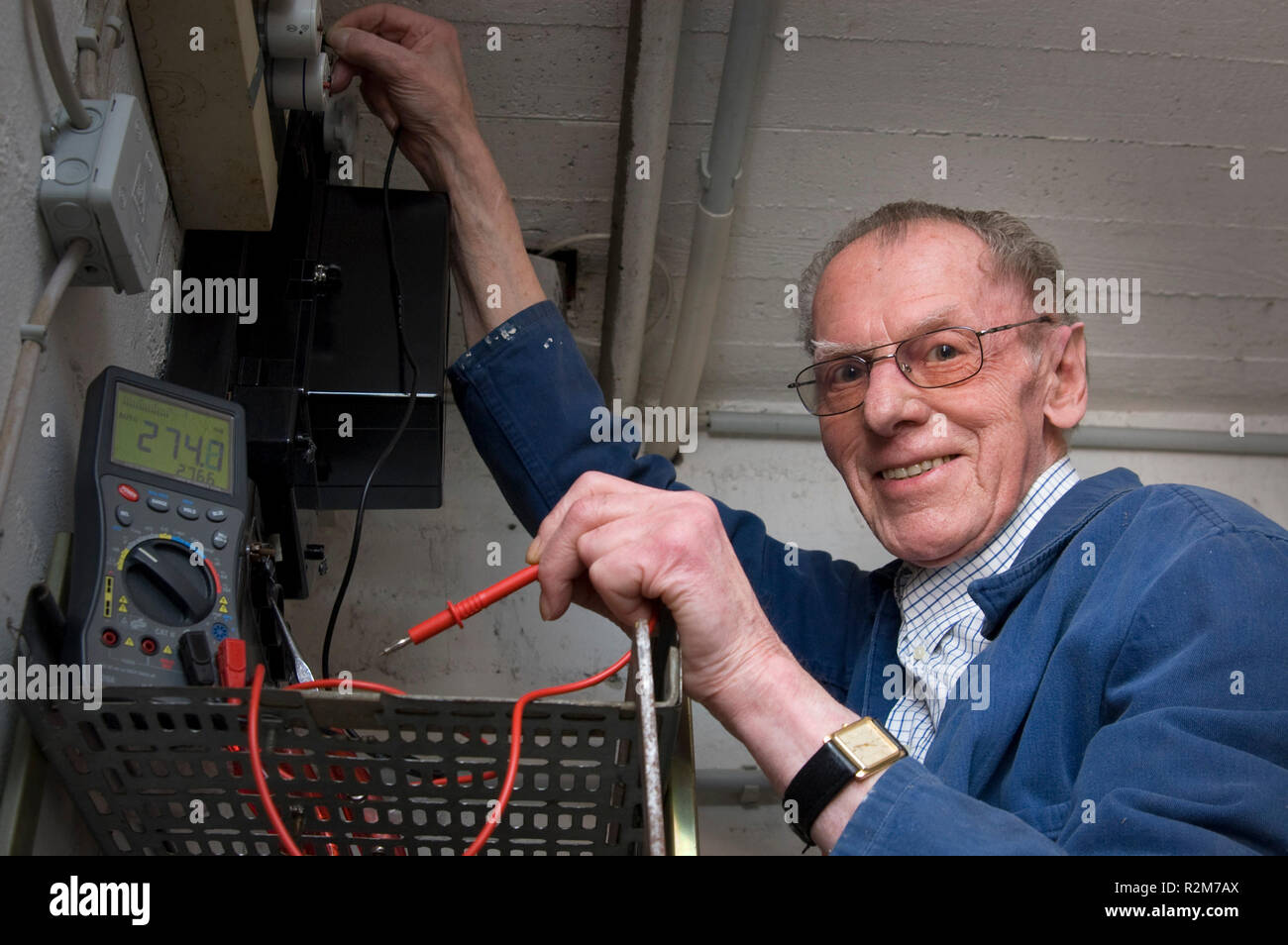 electricians in retirement age Stock Photo