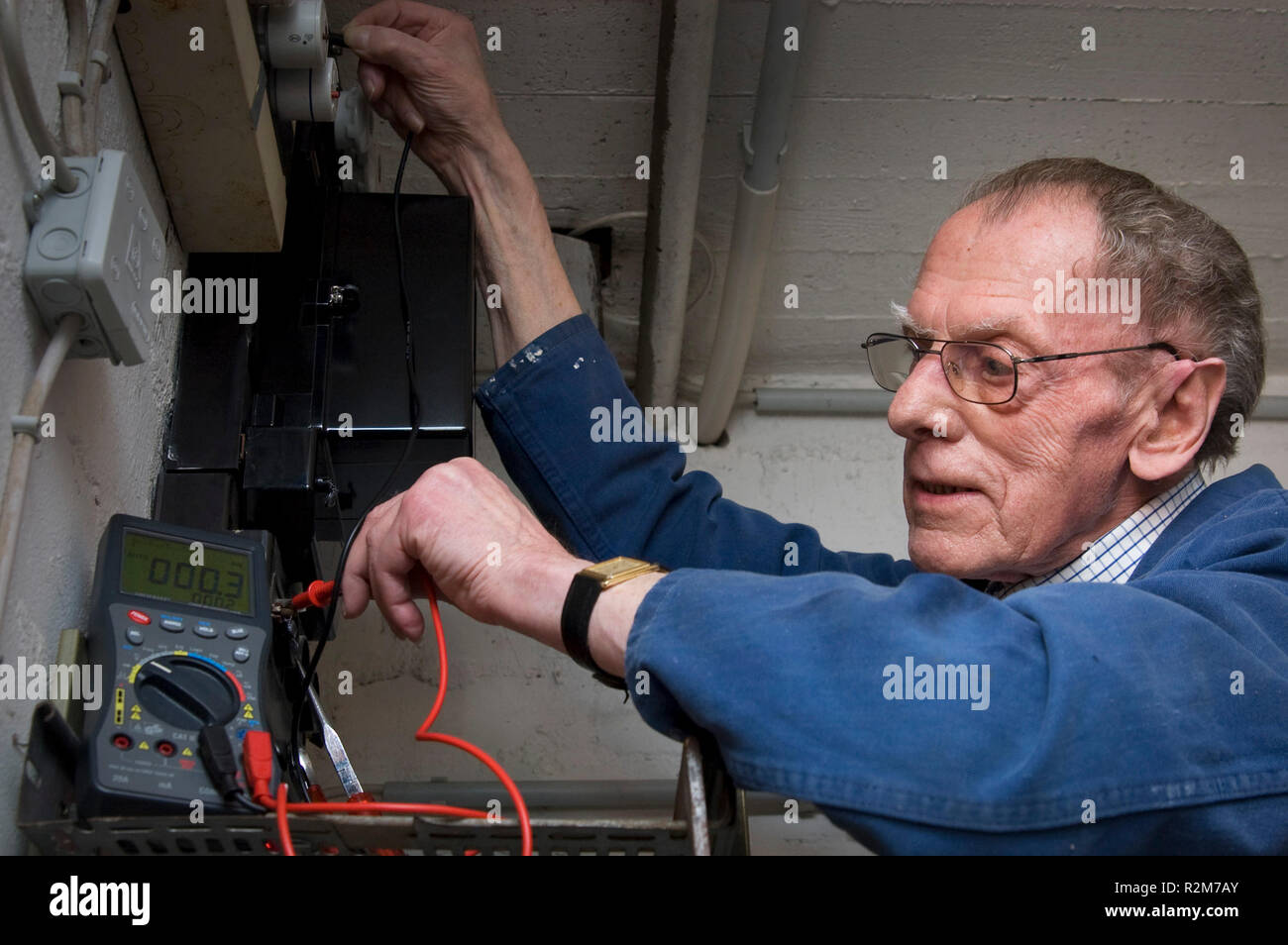 electricians in retirement Stock Photo