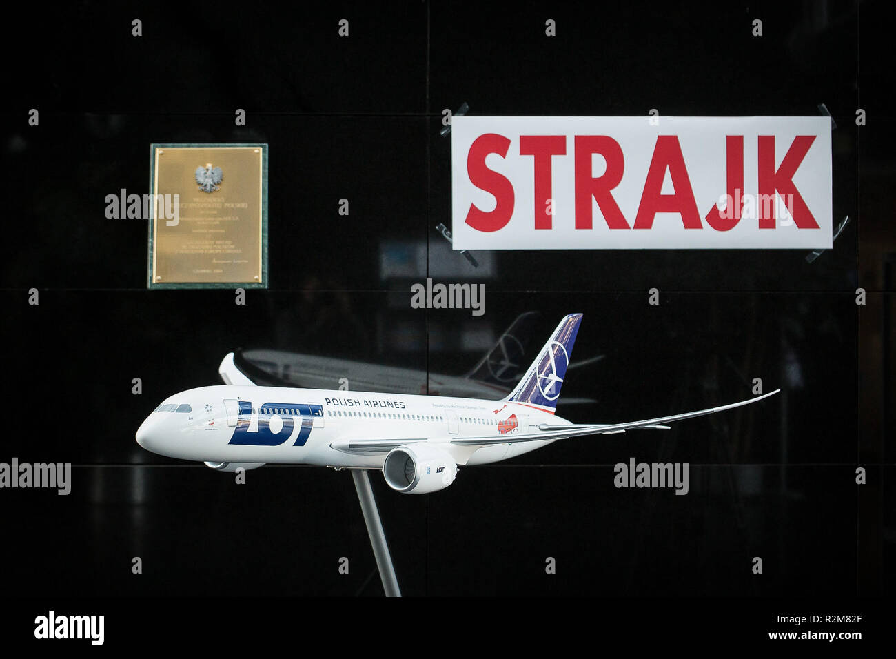 Polish LOT airline crew on strike in Warsaw, Poland on 18 October 2018 - Stock Image