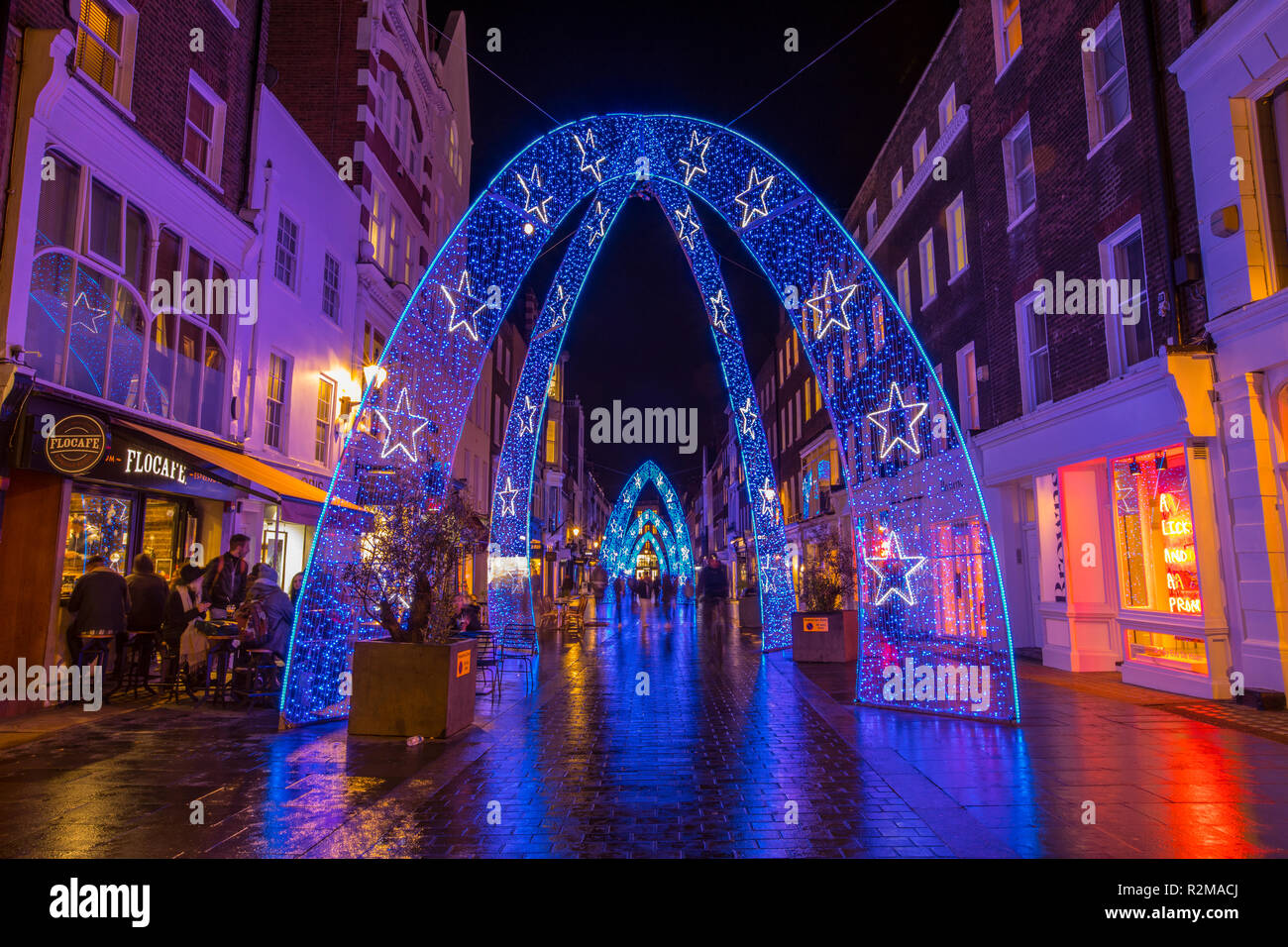 London, UK - November 19th 2018: A view of the festive Christmas lights on South Molton Street in central London. - Stock Image