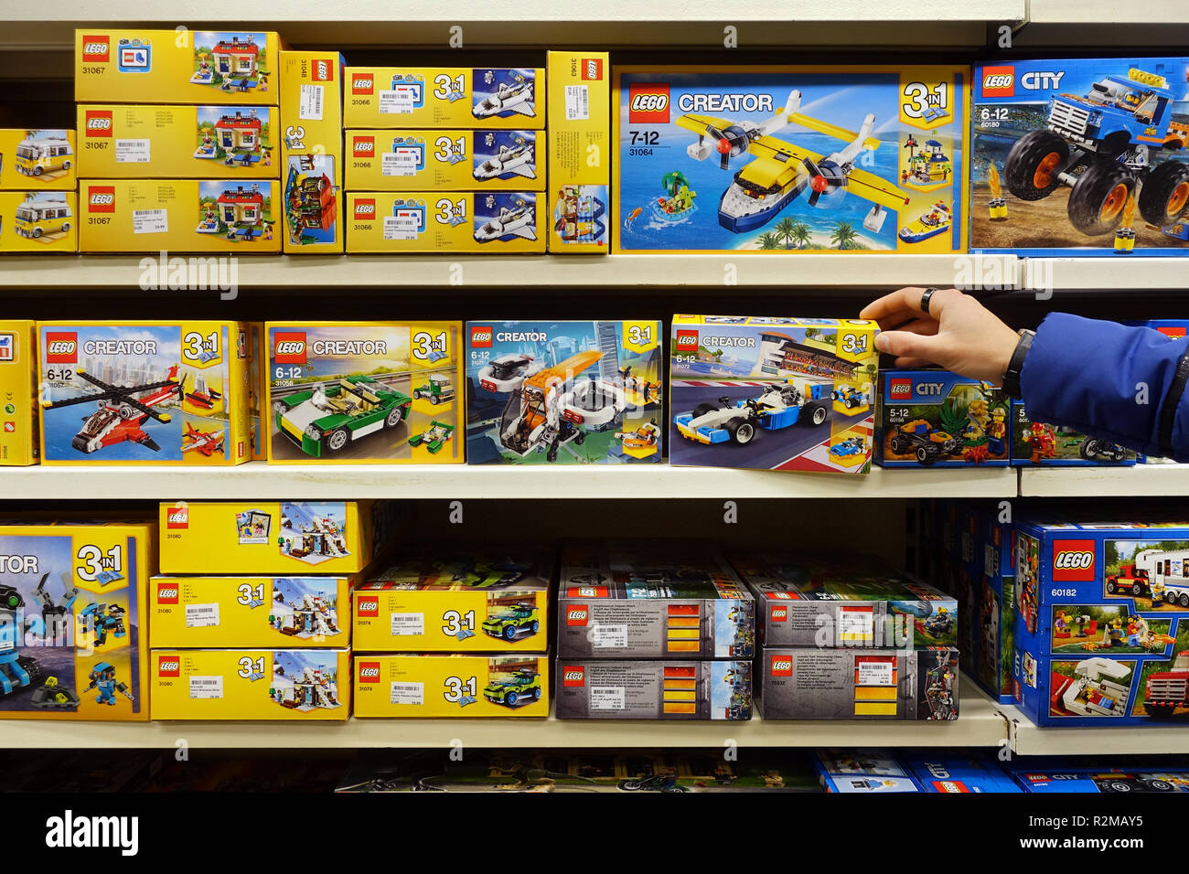 Lego creator boxes in a toyshop - Stock Image