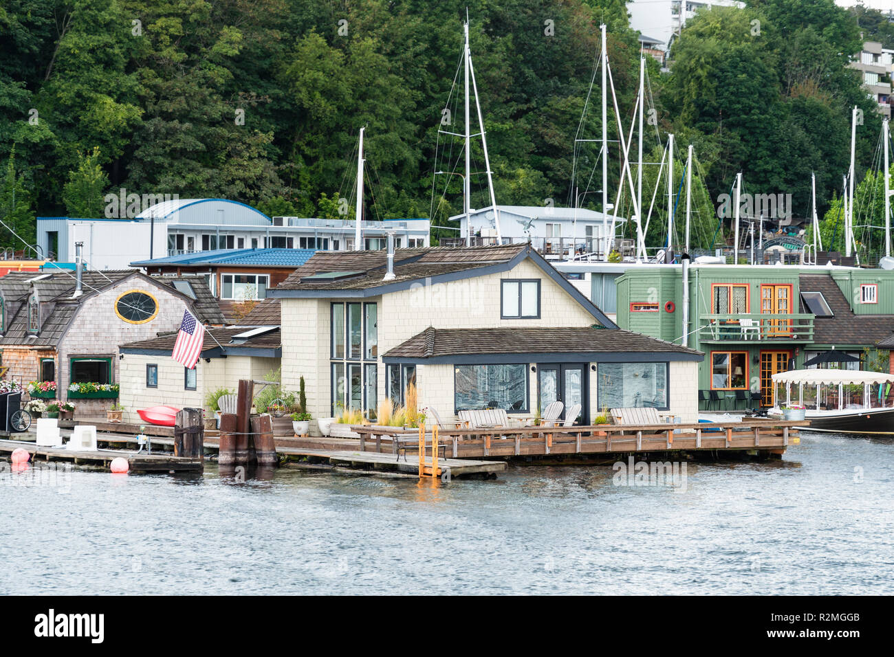 Seattle, Lake Union, film set 'Sleepless in Seattle' - Stock Image
