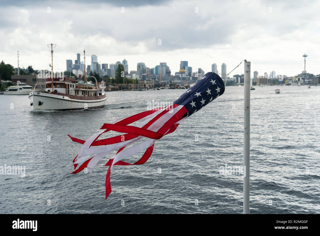 Seattle, Lake Union, Ice Cream Ferry, windbag, Stars and Stripes - Stock Image