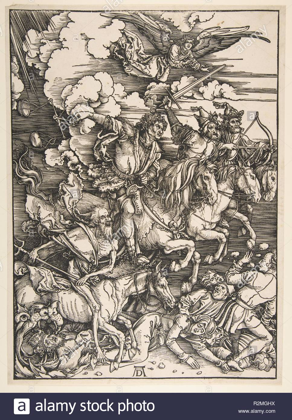 Four Horsemen of the Apocalypse. Artist: Albrecht Dürer (German, Nuremberg 1471-1528 Nuremberg). Date: ca. 1497/1498.  The third woodcut from Dürer's Apocalypse, the Four Horsemen presents a dramatically distilled version of the passage from the book of Revelation (6:1-8). Transforming what was a relatively staid and unthreatening image in earlier illustrated Bibles, Dürer injects motion and danger into this climactic moment through his subtle manipulation of the wood block. The parallel lines across the image establish a basic middle tone, against which the artist silhouettes and overlaps the - Stock Image