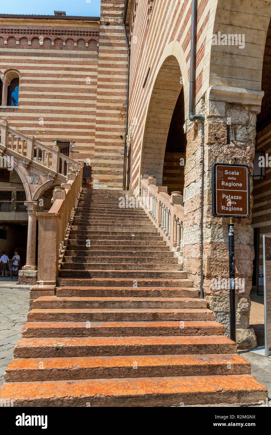 Stairway, Palazzo del Mercato Vecchio, Palazzo della Ragione, Scala della Ragione, Piazza dei Signori, Verona, Veneto, Italy, Europe - Stock Image