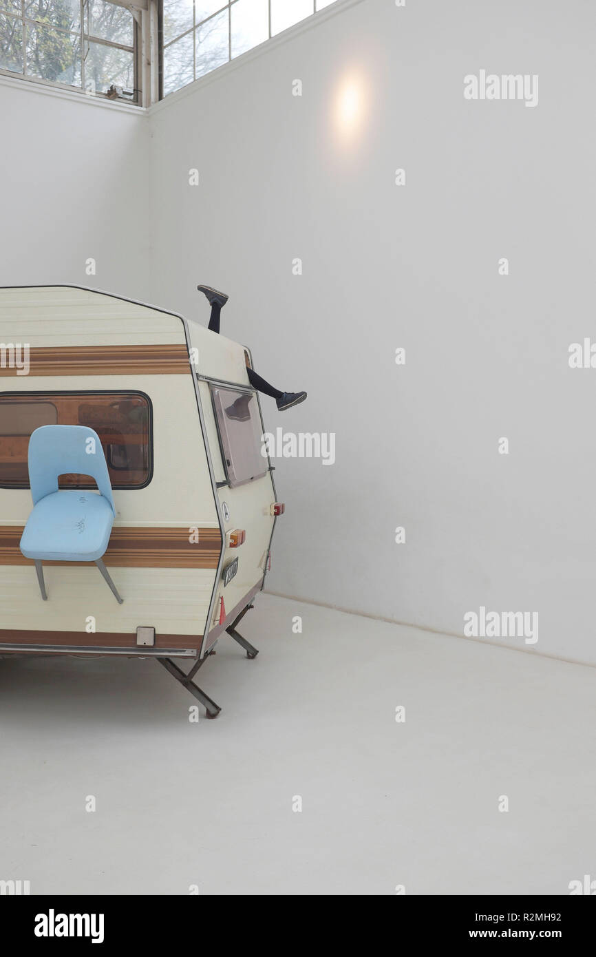 Art at the Venice Biennale - installation with caravan by Erwin Wurm - Stock Image