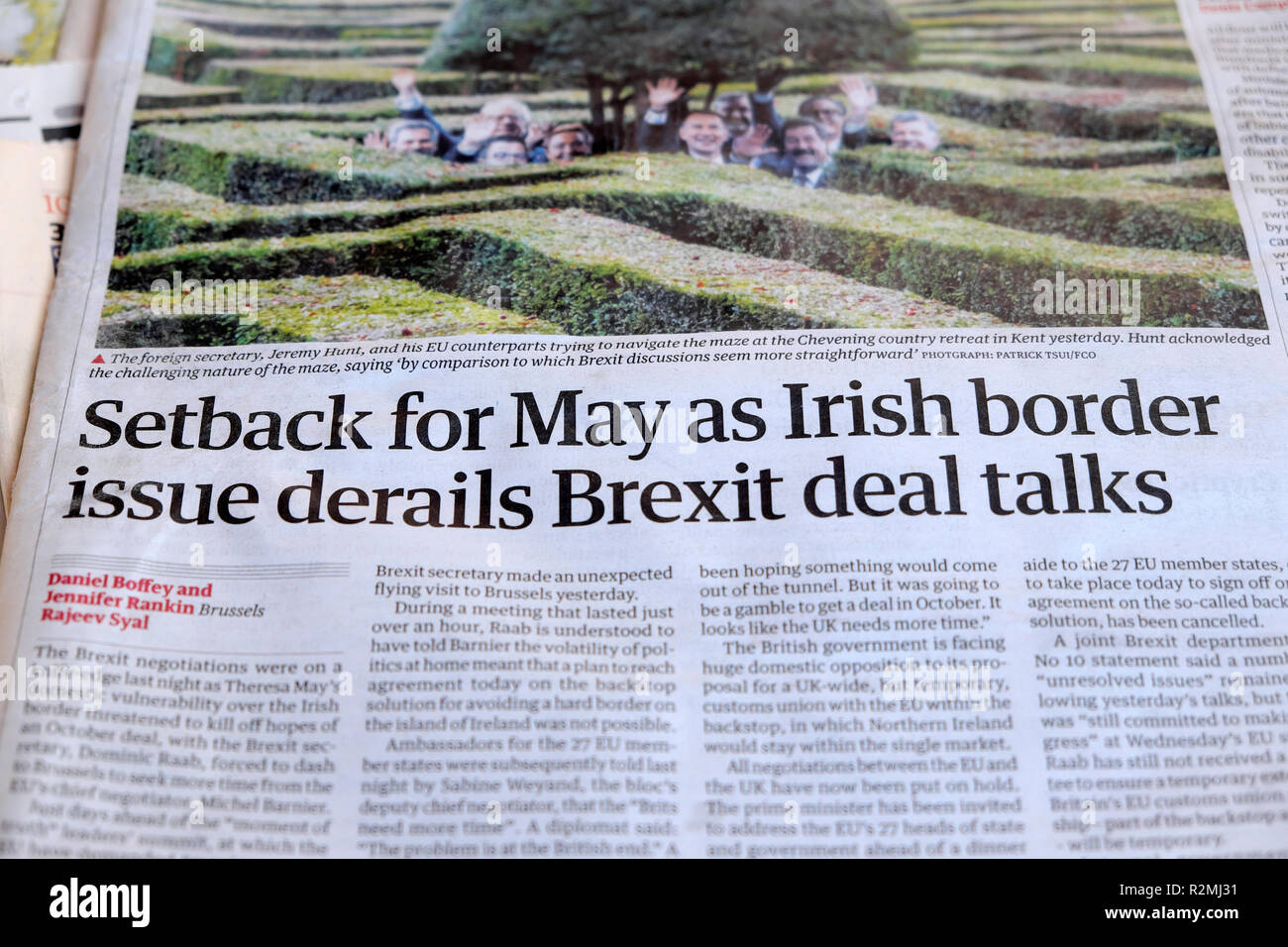 Guardian newspaper headline front page 'Setback for May as Irish border issue derails Brexit deal talks'   London England UK   15 October 2018 - Stock Image
