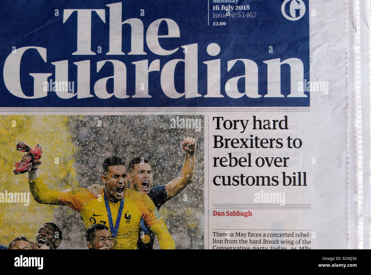 """Guardian newspaper headline front page """"Tory hard Brexiters to rebel over customs bill""""   London England UK   16 July  2018 Stock Photo"""