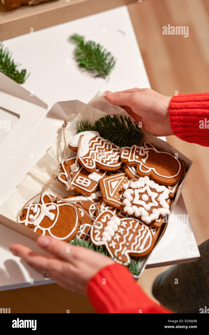 Christmas Gift Homemade Gingerbread Biscuits In Festive Packaging