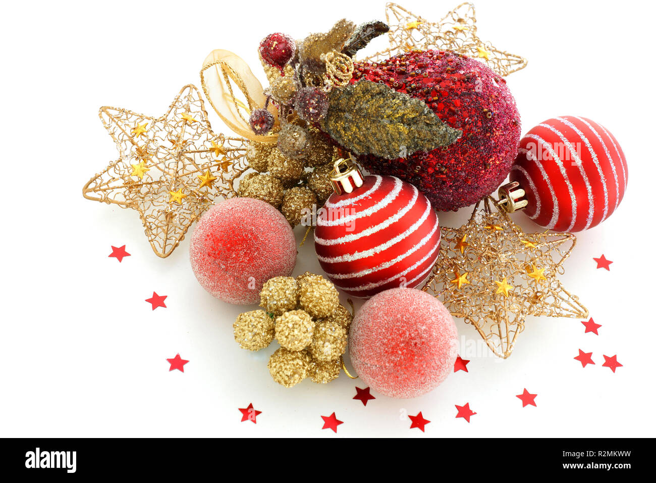 Red And Gold Christmas Decorations On White Background Very Beautiful Variety Of Holiday Decorations Are On The White Table Stock Photo Alamy
