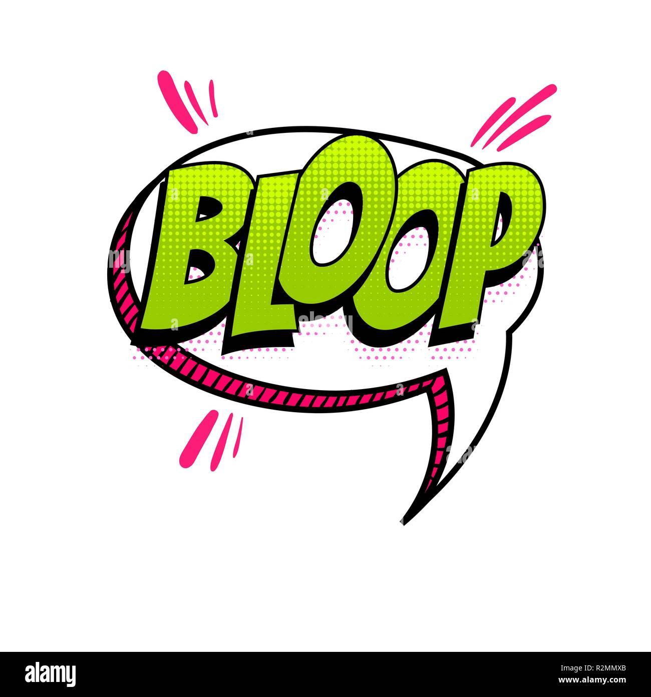 BLOOP - splash, slap spanish language comic text sound
