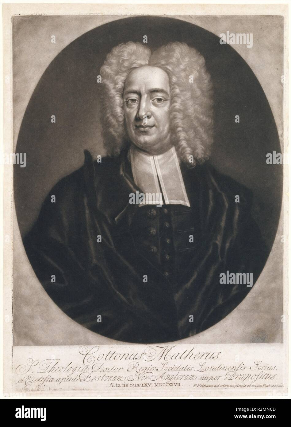 Cottonus Matheris (Cotton Mather). Artist: Engraved, painted and published Boston by Peter Pelham (American (born England), London 1697-1751 Boston, Massachusetts). Dimensions: plate: 13 11/16 x 9 13/16 in. (34.8 x 25 cm)  sheet: 14 3/16 x 10 5/16 in. (36.1 x 26.2 cm). Sitter: Cotton Mather (American, 1663-1728). Date: 1728. Museum: Metropolitan Museum of Art, New York, USA. - Stock Image