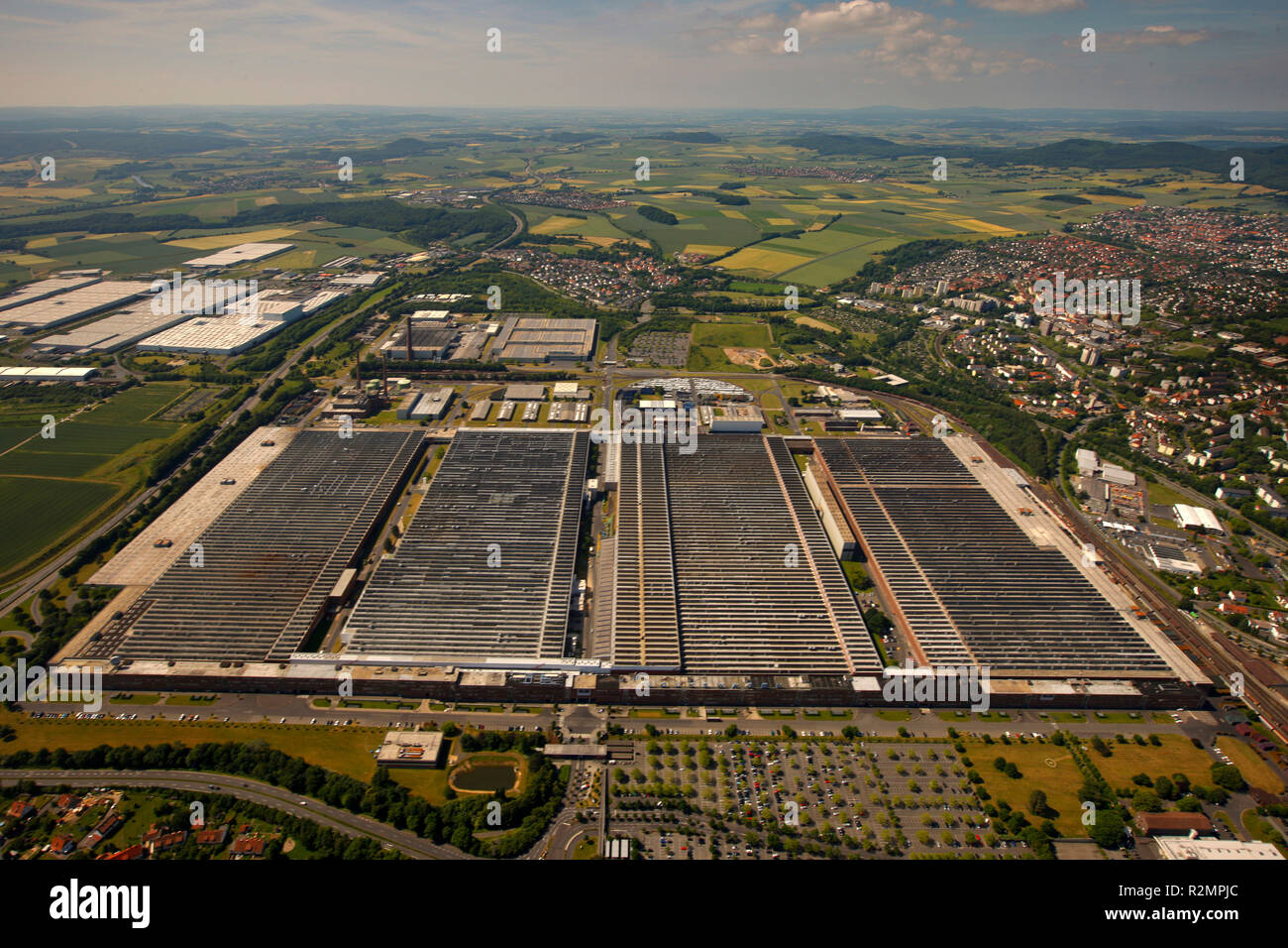 Aerial view, Volkswagen stock company Kassel plant Kassel Baunatal, automobile plant VW plant, automotive, aerial view, VW parking lot 4, Baunatal, Hesse, Germany, Europe, Stock Photo