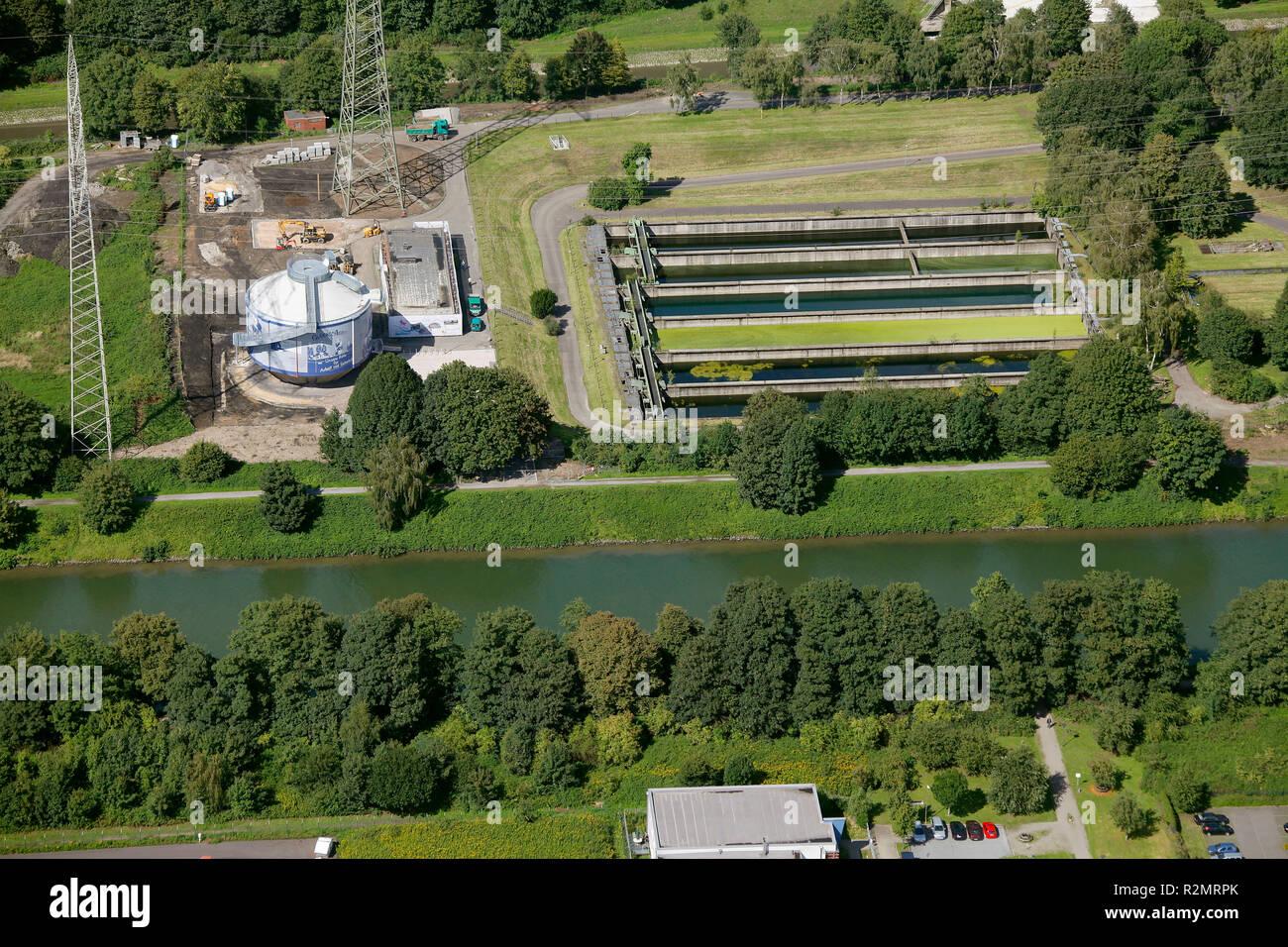 Aerial view, Emscher, Art, Silke Wagner Glückauf miners' protests in the Ruhr area digestion tank, Recklinghausen, Emscherkunst.2010, art works at the Emscher, Ruhr area, North Rhine-Westphalia, Germany, Europe, - Stock Image