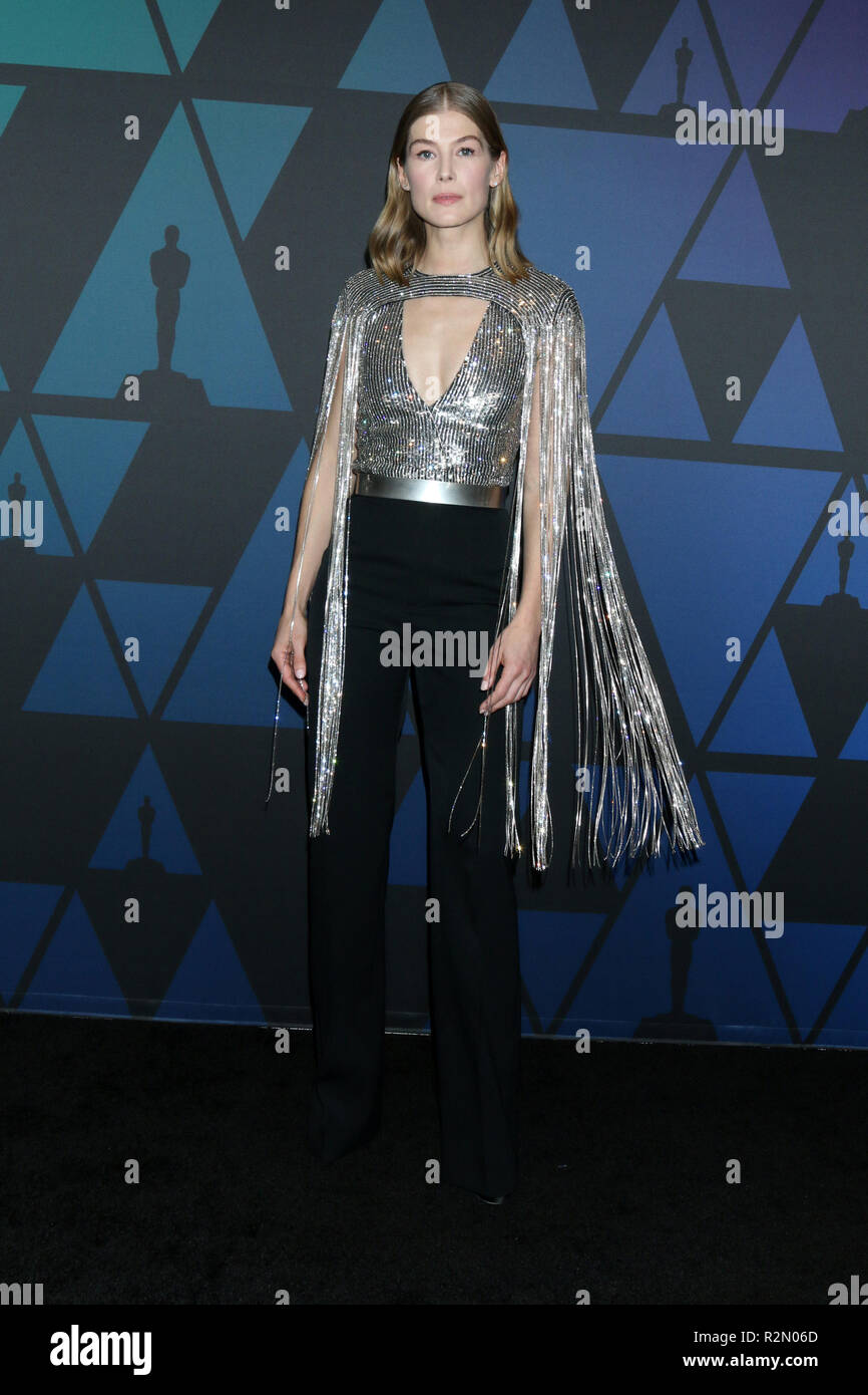 Los Angeles, CA, USA. 18th Nov, 2018. LOS ANGELES - NOV 18: Rosamund Pike at the 10th Annual Governors Awards at the Ray Dolby Ballroom on November 18, 2018 in Los Angeles, CA Credit: Kay Blake/ZUMA Wire/Alamy Live News - Stock Image