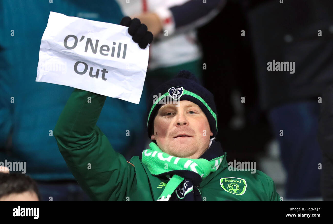 Republic Of Ireland Fans Hold Up A Banner Reading O Neill Out In Protest Against Manager Martin O Neill After The Uefa Nations League Group B4 Match At Ceres Park Aarhus Stock Photo