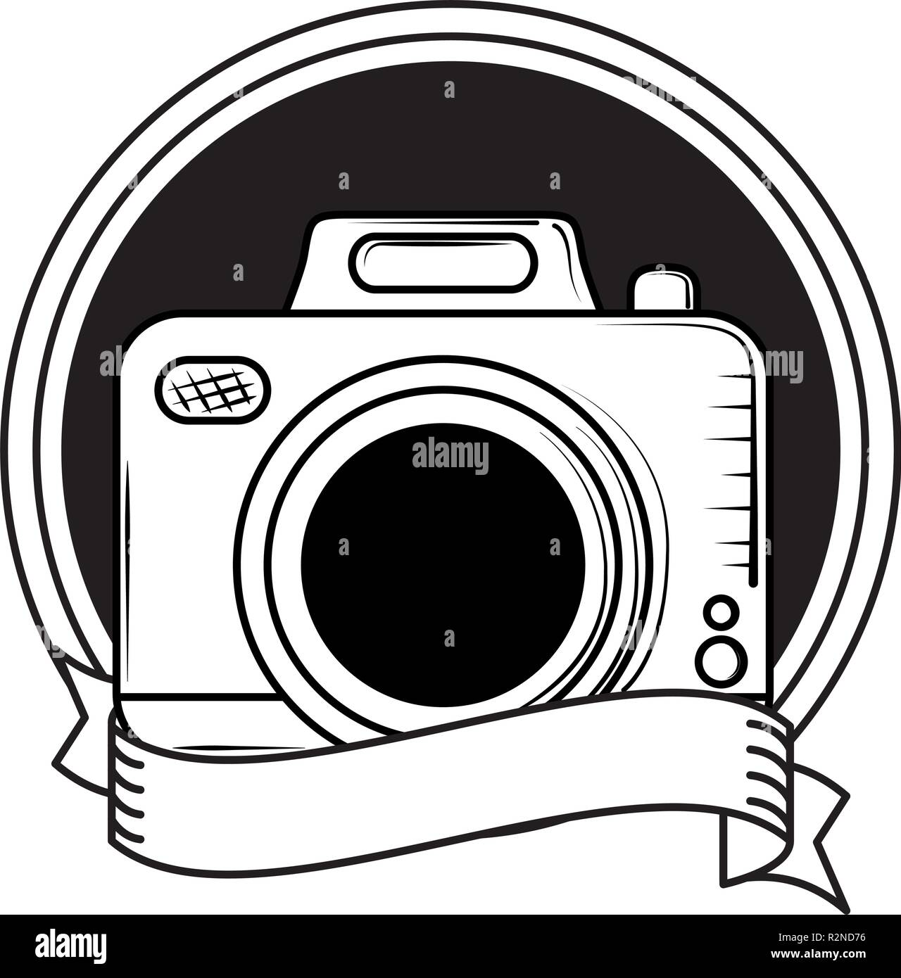 Vintage Photographic Camera Cartoon Round Frame With Blank Ribbon Banner Vector Illustration Graphic Design Stock Vector Image Art Alamy