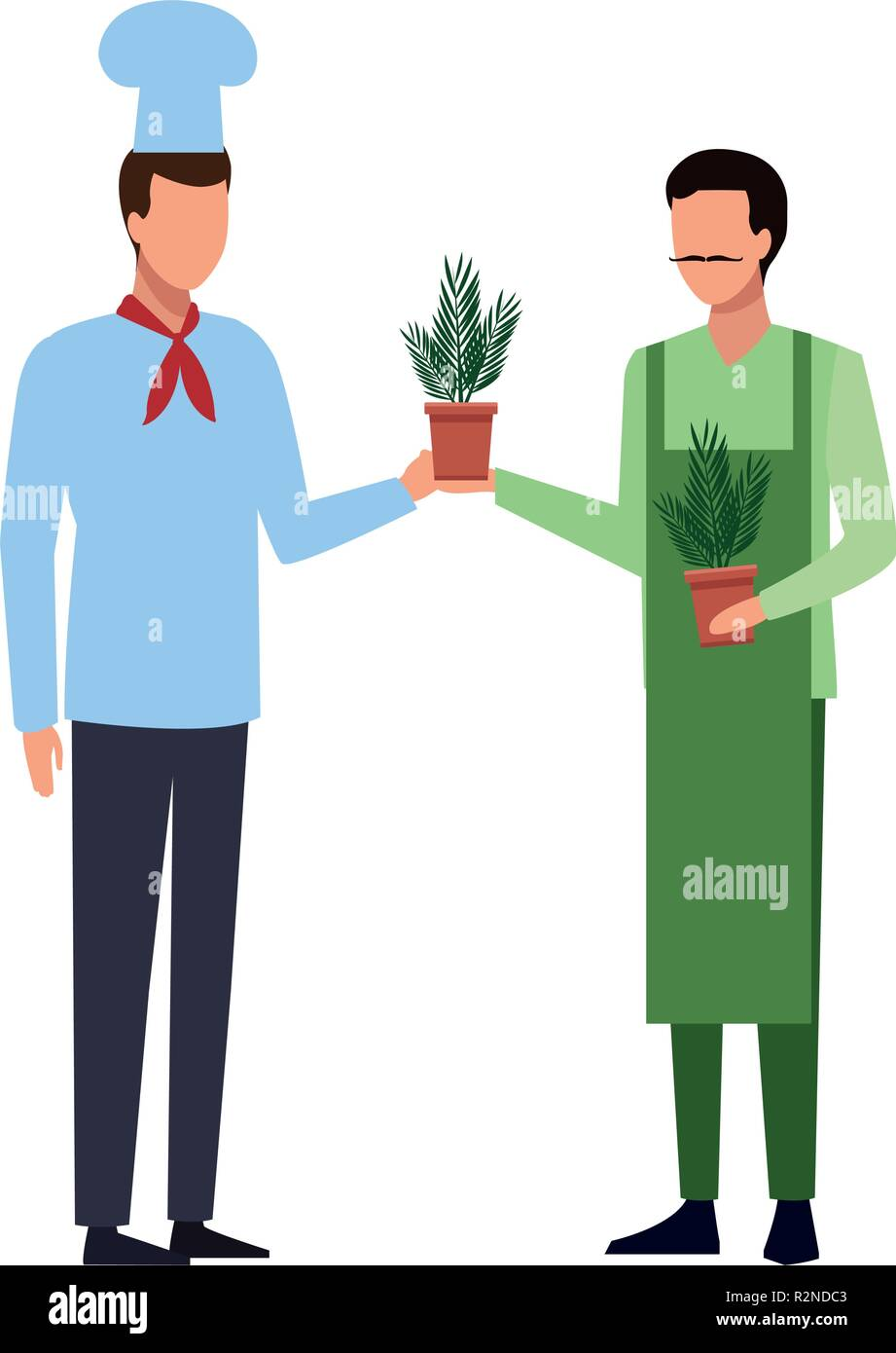 Men Chef And Gardener With Plant Pots Vector Illustration Graphic