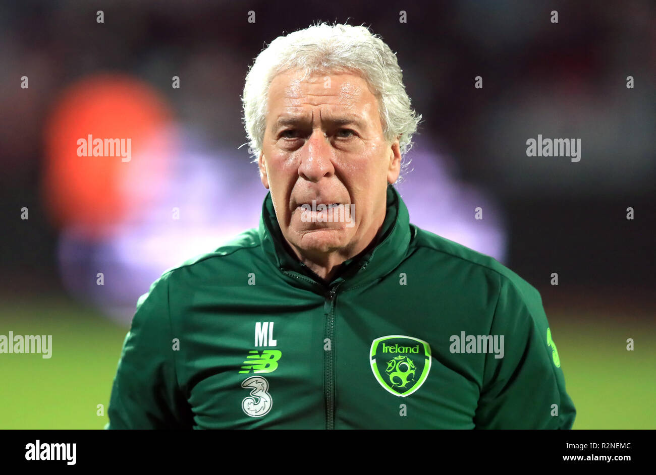 Republic of Ireland kitman Mick Lawler during the UEFA Nations League, Group B4 match at Ceres Park, Aarhus. PRESS ASSOCIATION Photo. Picture date: Monday November 19, 2018. See PA story SOCCER Denmark. Photo credit should read: Simon Cooper/PA Wire. RESTRICTIONS: Editorial use only. No commercial use. - Stock Image