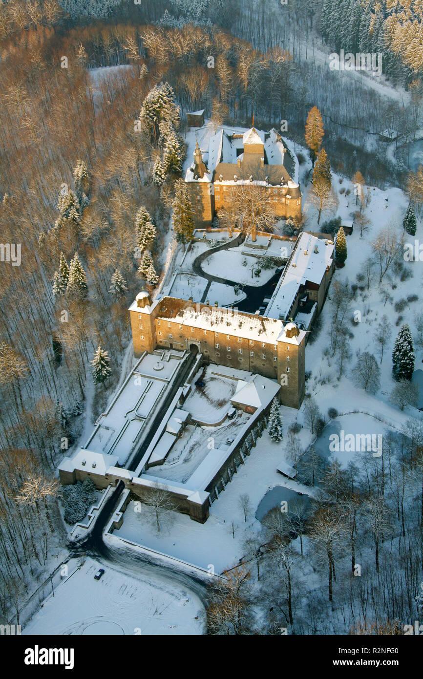 Aerial view, Snow, Winter, Schnellenberg castle, Attendorn, North Rhine-Westphalia, Germany, Europe, Stock Photo