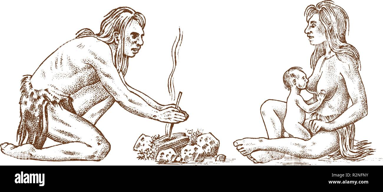 Primitive people. Prehistoric period, ancient tribe, cave barbarian man and woman couple with a child. Hand drawn sketch. Engraved monochrome illustration. - Stock Image