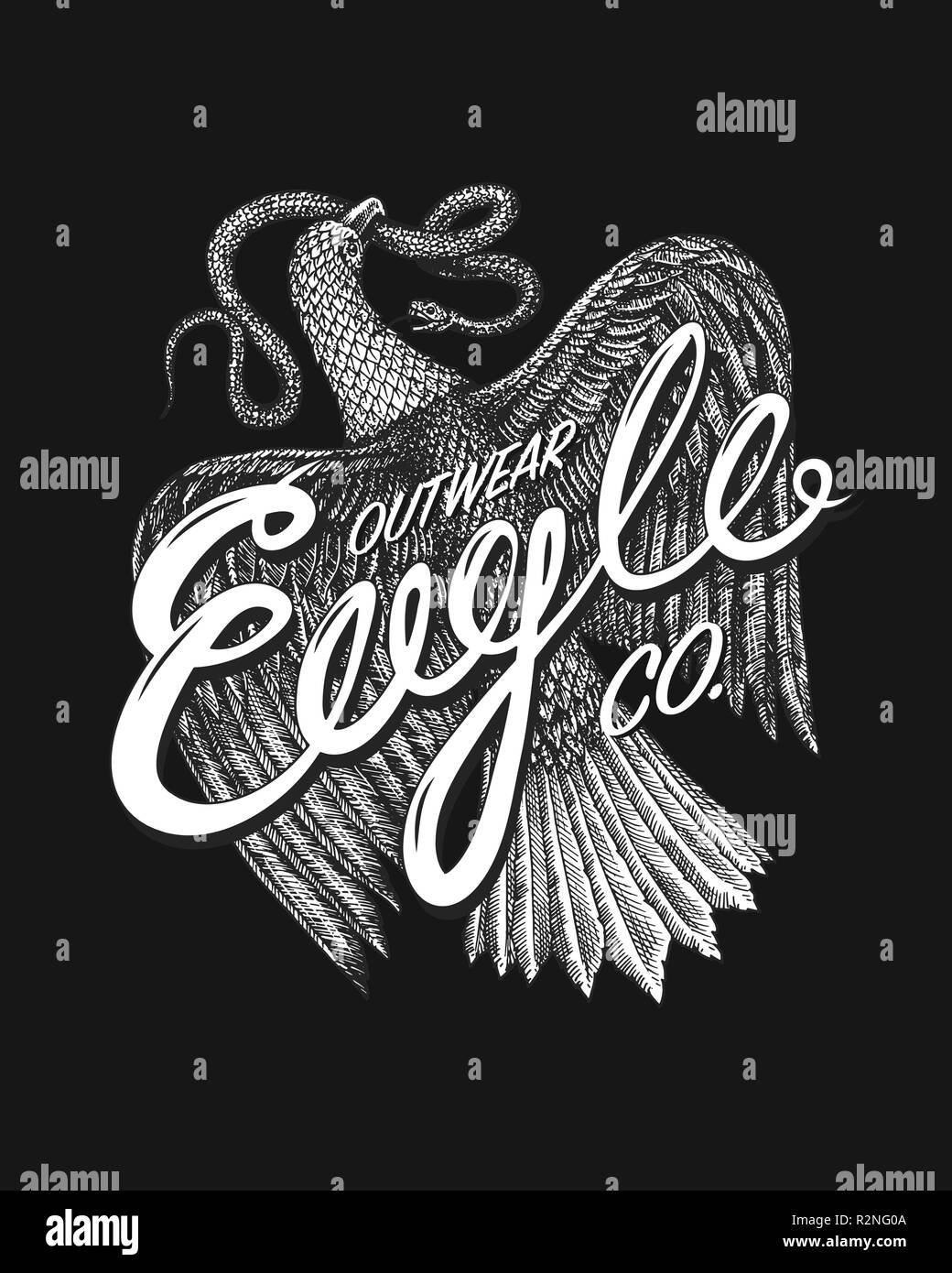 Aquila Symbol of Freedom. Wild Eagle, predatory bird. Vector hand drawn. Vintage template for t-shirt logo. Grunge label print. Engraved monochrome sketch. - Stock Image