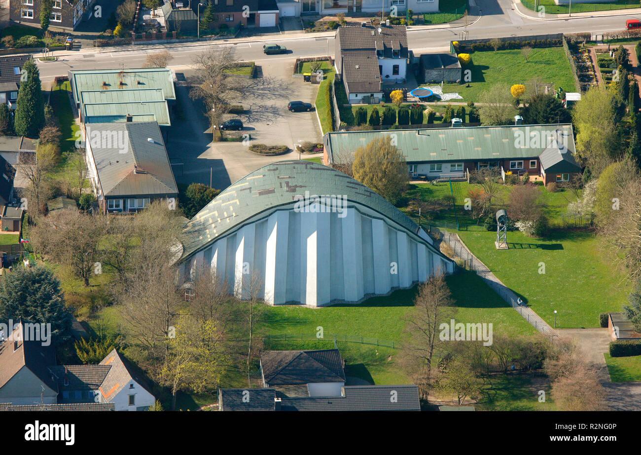 St.Josef Überruhr, church arch roof, concrete construction, Essen, Ruhr area, North Rhine-Westphalia, Germany, Europe, Stock Photo