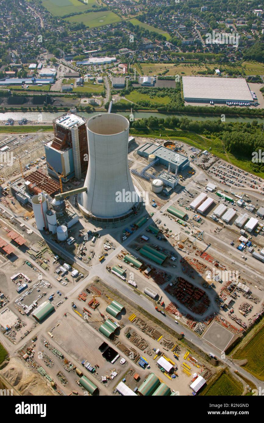 EON Datteln4 coal power station, construction freeze, boiler house, cooling tower, Dortmund-Ems-Kanal, Datteln, Ruhr area, North Rhine-Westphalia, Germany, Europe, Stock Photo