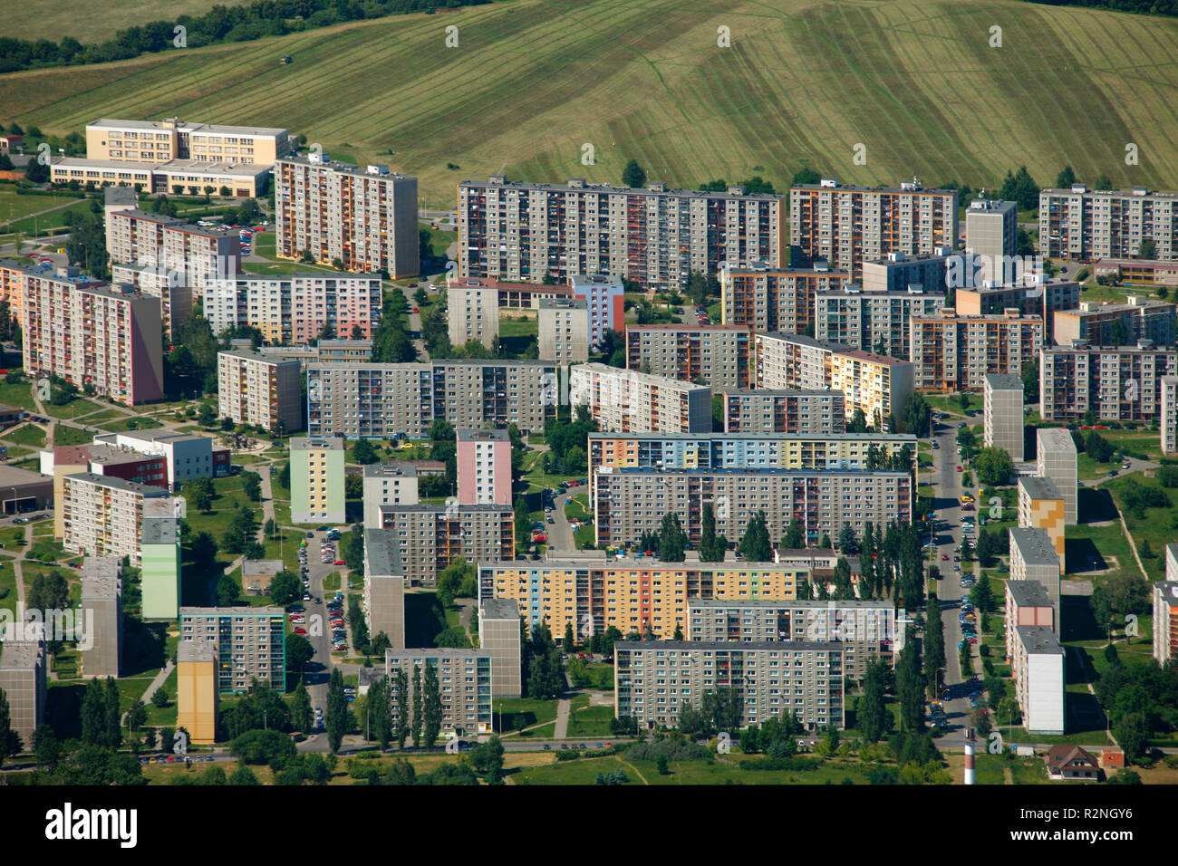 Aerial view, prefabricated housing, skyscrapers, Housing estate, Liberec, Ceská Lípa, Liberec, Czech Republic, Europe, Stock Photo