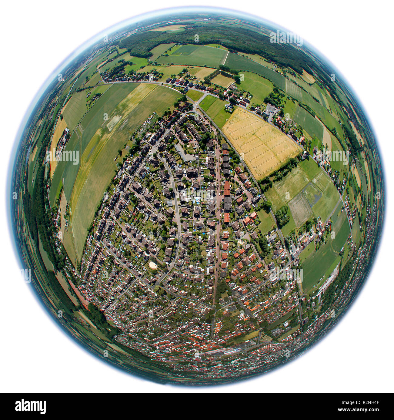 Aerial view, miners settlement detached houses, semi-detached houses, Maximilian settlement, Hamm, North Rhine-Westphalia, Germany, Europe, Fisheye, fisheye lens, round - Stock Image