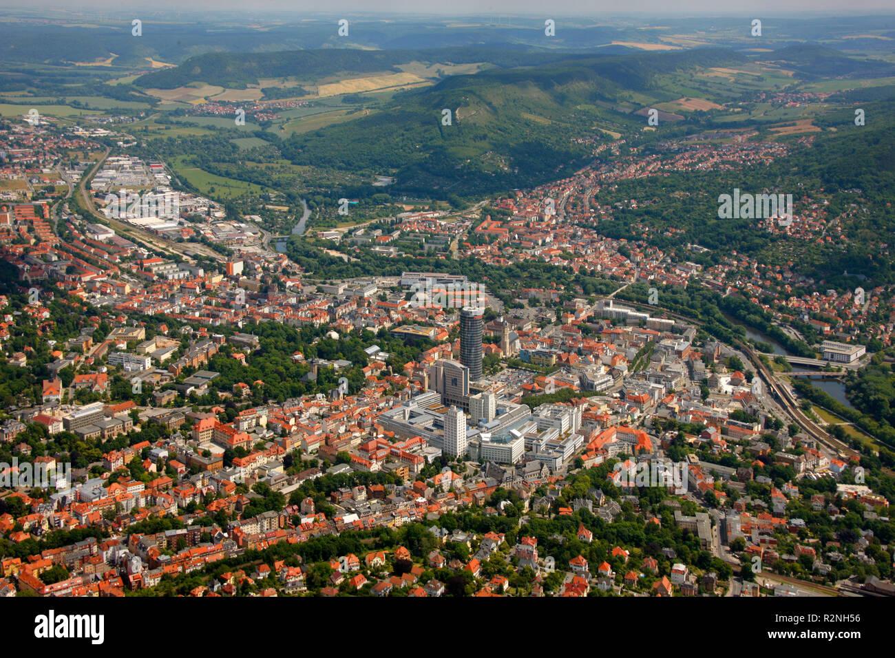Aerial view, Jentower, Jenoptik, Stadtmitte, University of Jena, aerial view, Mädertal 6, Jena, Thuringia, Germany, Europe, - Stock Image
