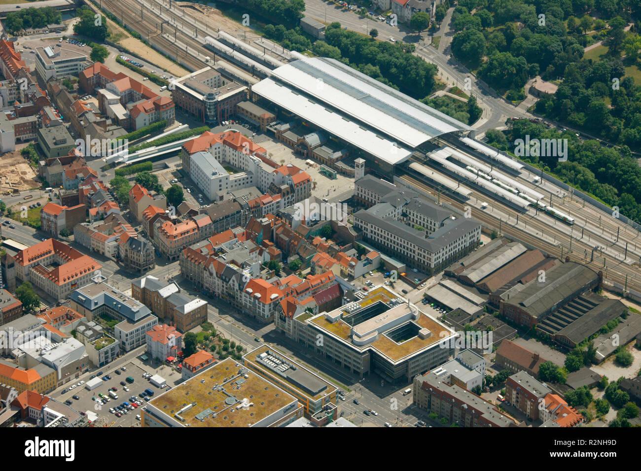 Aerial view, Erfurt central station, aerial view, Richard-Breslau-Straße, Erfurt, Thuringia, Germany, Europe, - Stock Image