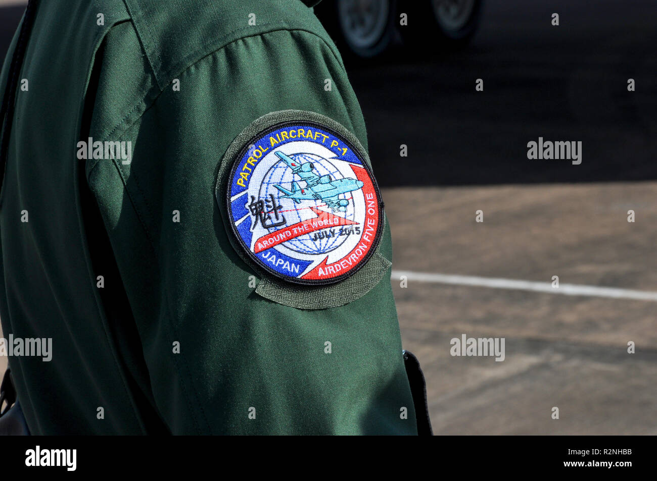 Arm patch of a crew member of a Japanese Japan Maritime Self Defense Force, JMSDF Kawasaki P-1 Patrol Aircraft Airdevron Five One world tour Stock Photo