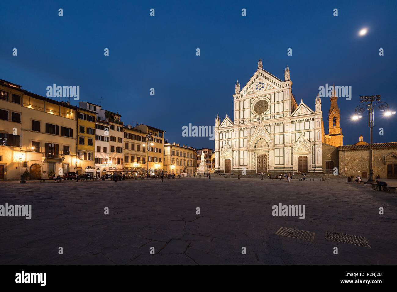 Florence, Piazza and Basilica di Santa Croce, blue hour - Stock Image