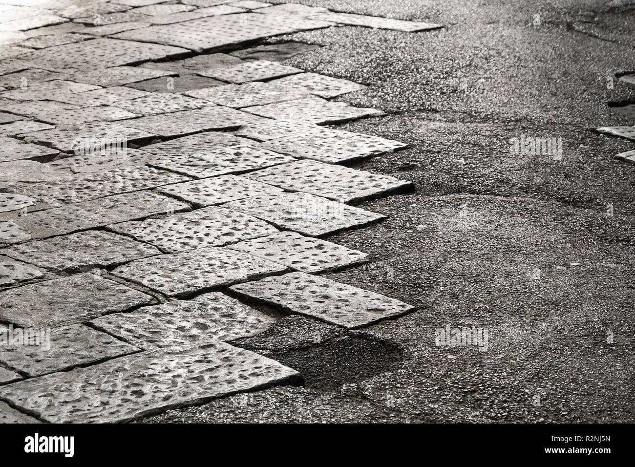 Florence, road surface, in need of rehabilitation - Stock Image