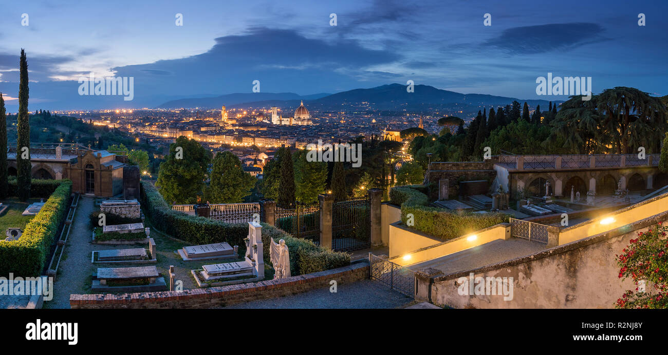 Panorama Florence, San Miniato al Monte, Cemetery, distant view Old Town, blue hour - Stock Image