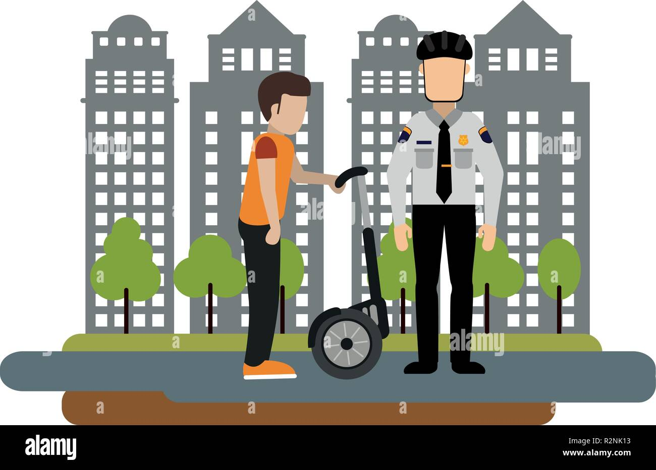Police fines a man with hover board at city vector illustration graphic design - Stock Vector