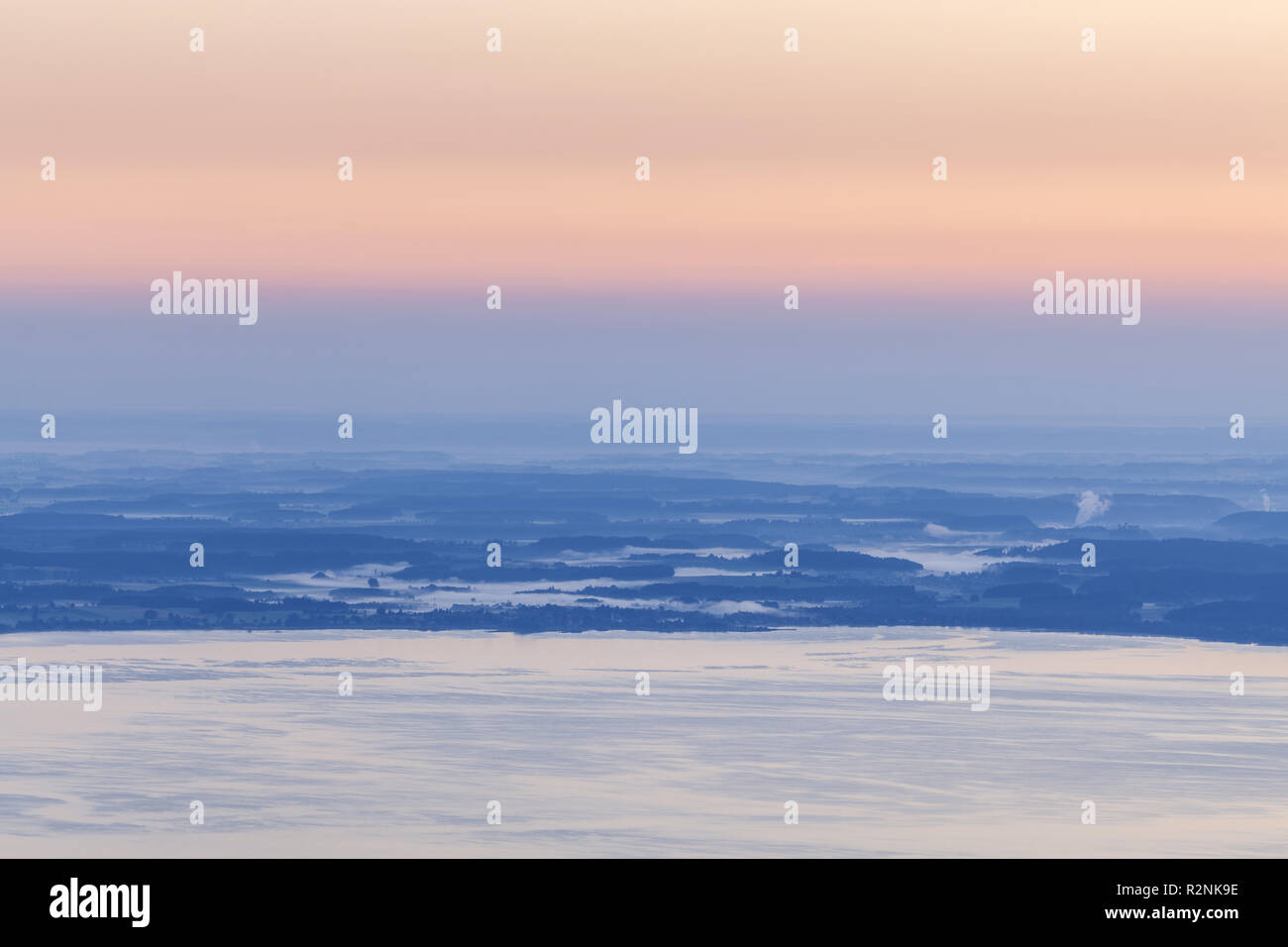 View from the Piesenhauser alp to the Chiemsee, Chiemgau Alps, Marquartstein, Chiemgau, Upper Bavaria, Southern Germany, Germany, Europe - Stock Image