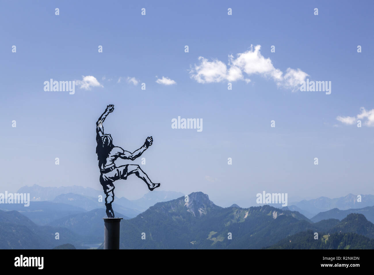 Artwork Himmelskletterer from Angerer the Younger one on the Rauschberg, Ruhpolding, Chiemgau Alps, Chiemgau, Upper Bavaria, Bavaria, Southern Germany, Germany, Europe - Stock Image