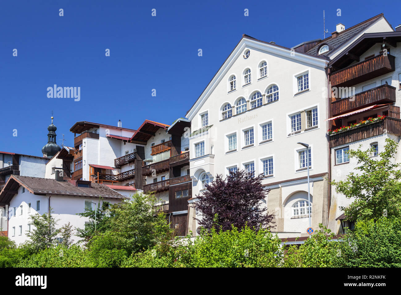 Trostberger organs with town hall, Trostberg an der Alz, Chiemgau, Upper Bavaria, Bavaria, Southern Germany, Germany, Europe - Stock Image