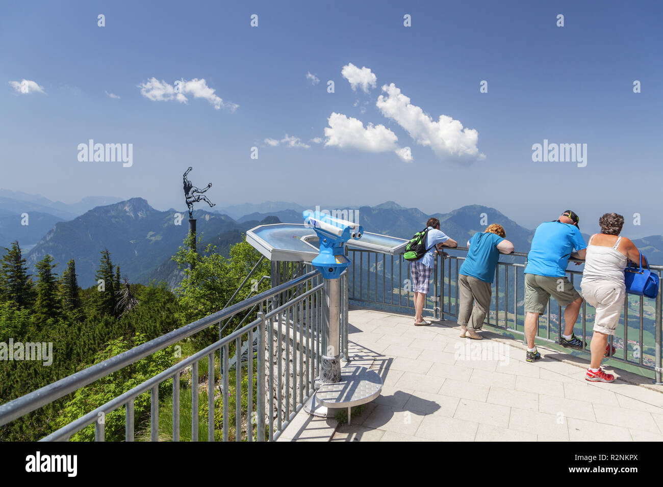 Viewpoint with artwork Himmelskletterer by Angerer the Younger at the top station of the Rauschbergbahn on the Rauschberg, Ruhpolding, Chiemgau Alps, Chiemgau, Upper Bavaria, Bavaria, Southern Germany, Germany, Europe - Stock Image