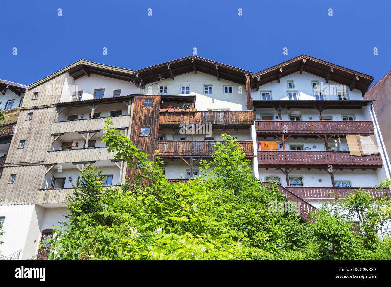 Trostberger Organs, Houses on the Alz in Trostberg, Chiemgau, Upper Bavaria, Bavaria, Southern Germany, Germany, Europe - Stock Image
