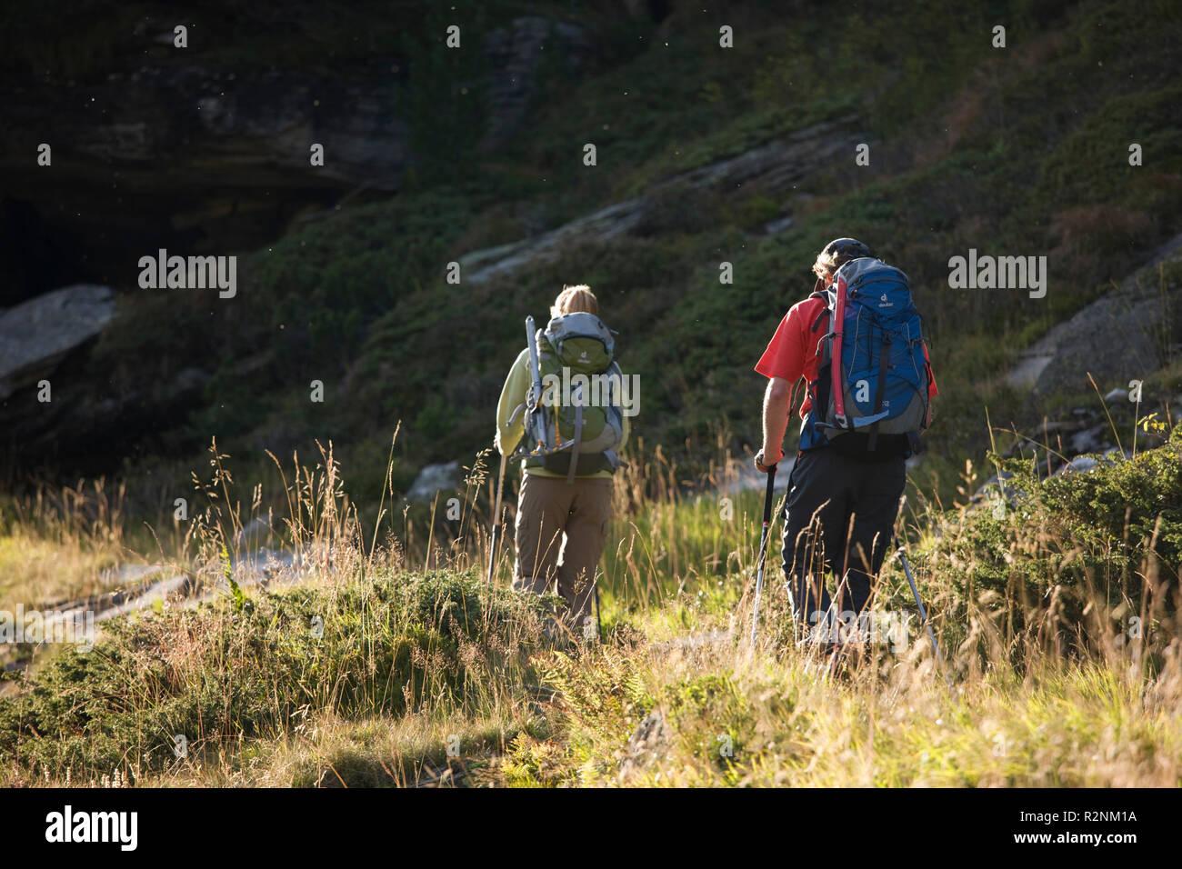 Hiker at the Berliner hut, Zillertal Alps, Tyrol, Austria. Stock Photo