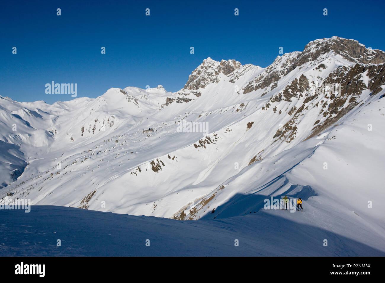 Ski tour to the Grüblspitze, Tux Alps, Tyrol, Austria. - Stock Image