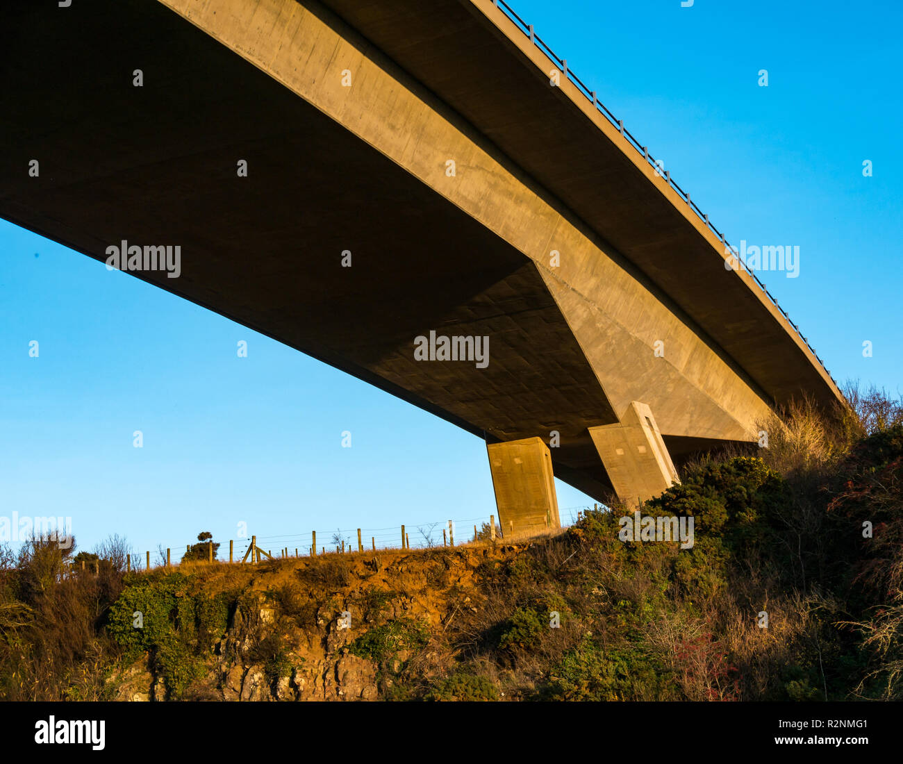River Tyne concrete flyover bridge by Balfour Beatty Civil Engineering on A1 dual carriageway from below, East Lothian, Scotland, UK - Stock Image