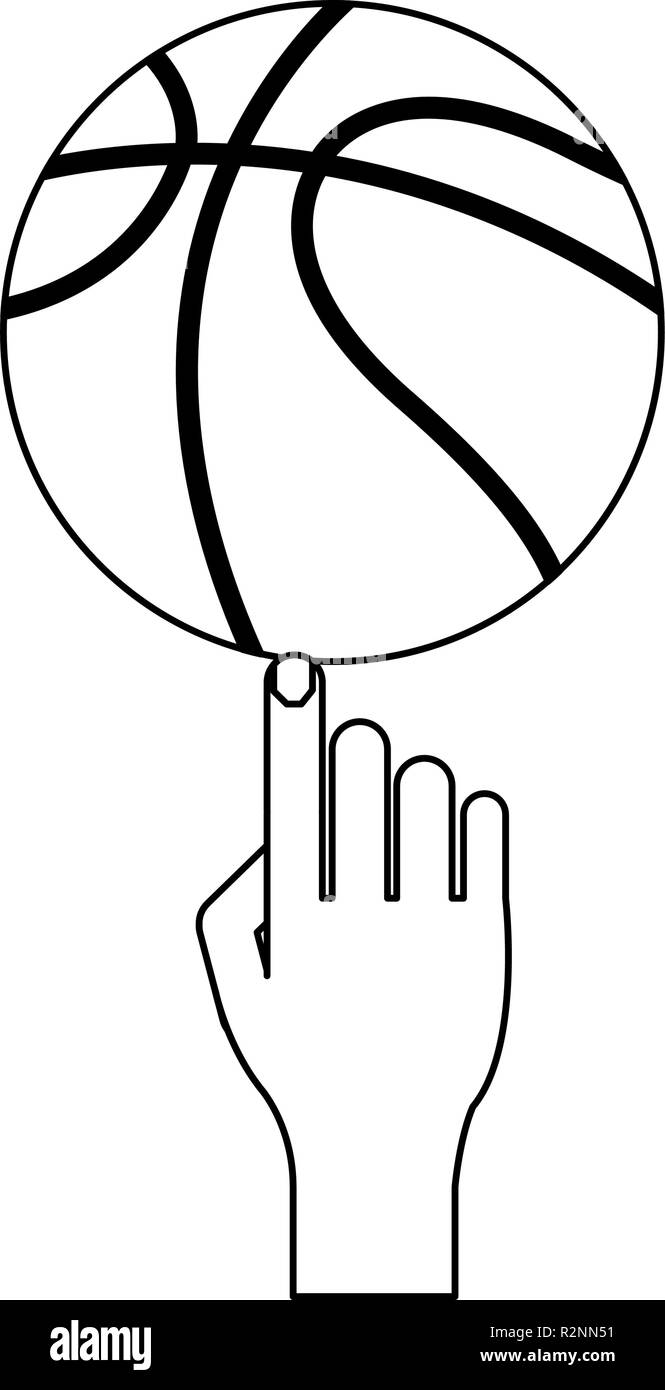 Basketball ball on human finger vector illustration graphic design - Stock Image