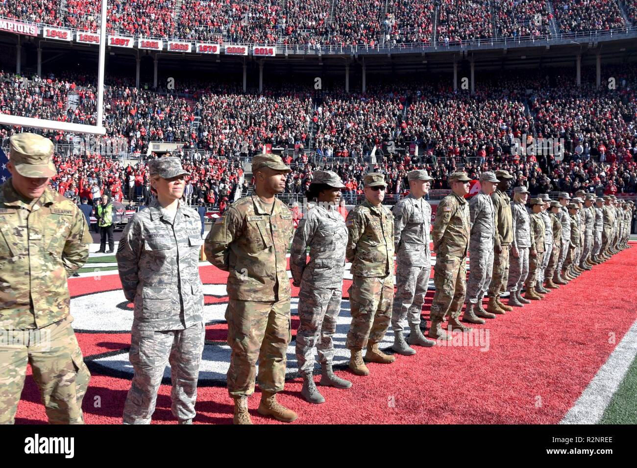 Ohio National Guard Members Line Up On The Field At The Ohio State Football Game On