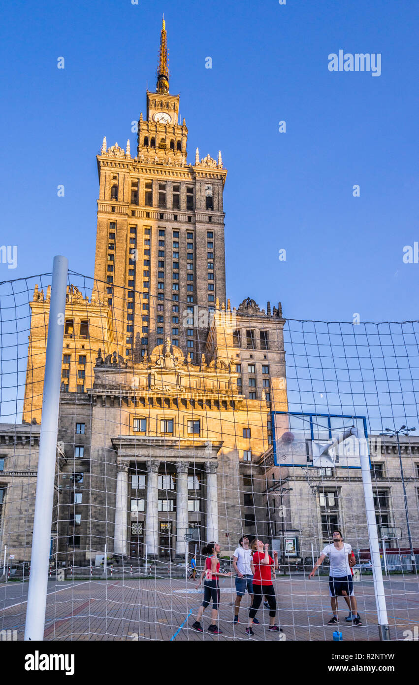 basketball match below the Palace of Culture and Science, Warsaw, Poland - Stock Image