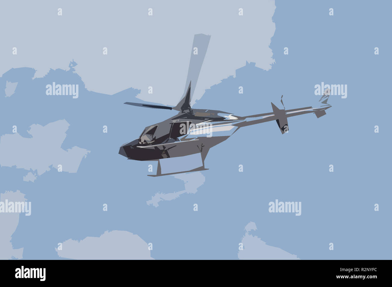 helicopter to the airport days in 2007 - Stock Image